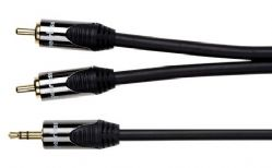 Peerless Delta DE-JR01 3.5mm Jack to Twin RCA Lead - 1m